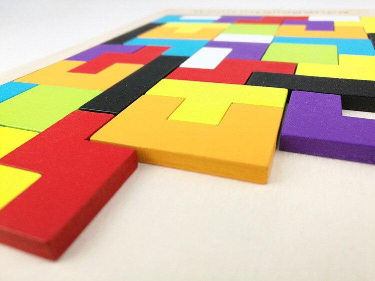 Gros 100 pièces/Carton Tetris Puzzle en bois jouet famille jeu construction géométrique Tangram enfant bébé jouets cadeau d'anniversaire - 5