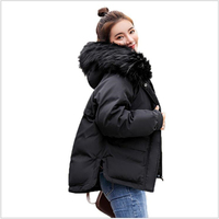 Faux Fur Collar Fashion Short Parkas Loose Cotton Coats Winter Women Jackets Snow Outwear Warm chaqueta mujer R002