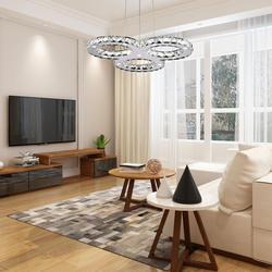 Современные светодиодный люстра роскошные Нержавеющаясталь Crystal Light Kroonluchter подвесной светильник 3 кольца дизайн люстра в виде ромба