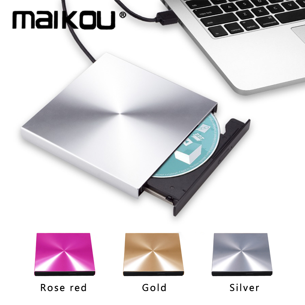 Maikou <font><b>USB</b></font> <font><b>3.0</b></font> Aluminum Alloy External <font><b>DVD</b></font> Burner CD Player Slim Silver New Model of Optical <font><b>Drive</b></font> For Laptop Recorder image