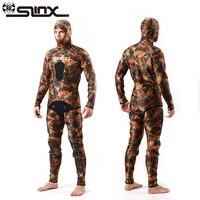 SLINX Двухсекционный мужской Камуфляжный мокрый костюм купальники с головным убором 5 мм неопреновый Камуфляжный костюм для подводного плава