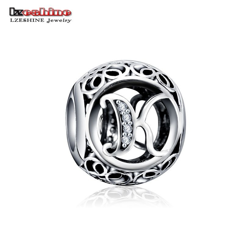 LZESHINE 100% Authentic Sterling Silver 925 Crystal Alphabet Letter A-Z Bead Charm Fit Original Pandora Charm Bracelet PSMB0634 12