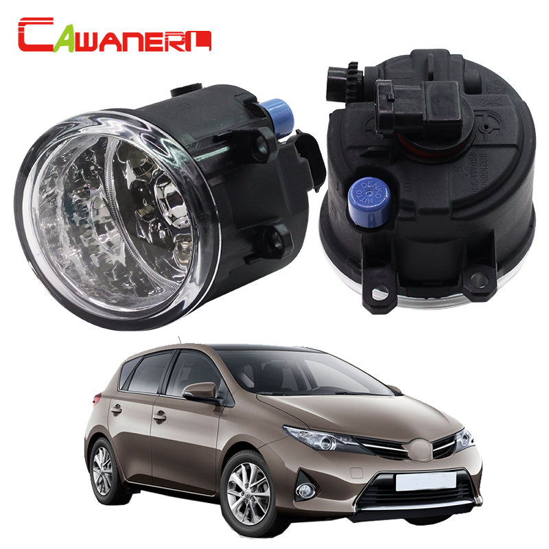 Cawanerl 2 Pieces Car LED Light Automotive Fog Light DRL Daytime Running Light White Blue Orange 12V DC For Toyota Auris cawanerl for toyota highlander 2008 2012 car styling left right fog light led drl daytime running lamp white 12v 2 pieces