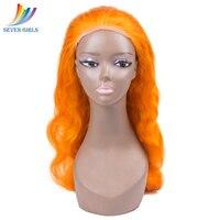 Sevengirl бесклеевой оранжевый объемная волна полный парик шнурка человеческих волос с прозрачными кружевами бразильские 8 30 дюймовые натураль