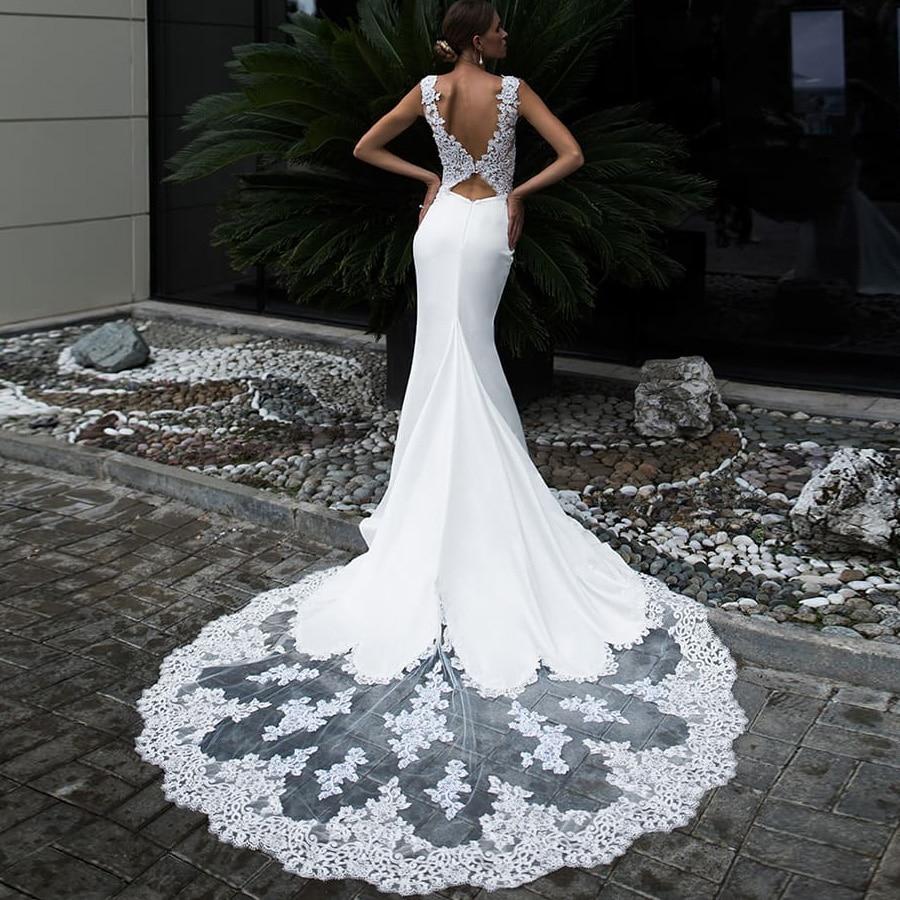 ADLN Sexy Mermaid Wedding Dress Long Lace Train Cap Sleeve Applique Long Wedding Gowns Vestidos De Novia Robe De Mariage