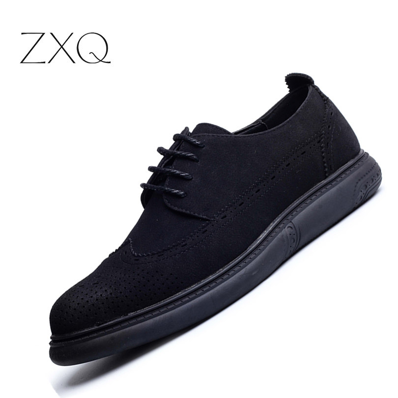 ZXQ New Trend Retro British Style Men Oxford Suede Leather Shoes Lace Up Casual Autumn Platform Brogue Men Shoes zxq brand handmade new winter men oxford shoes solid color high quality retro british style men flats leather shoes