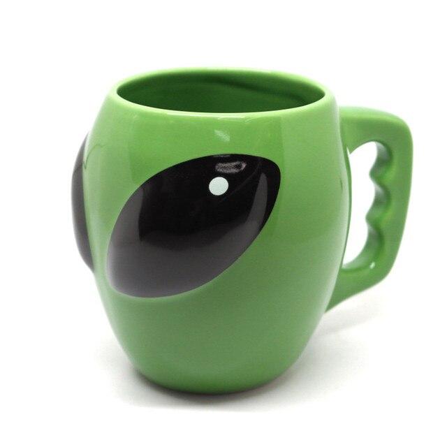 ALIEN ceramic coffee mug green 3D funny tea milk drinkware