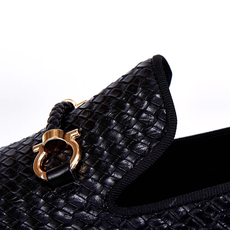 Harpelunde Men Dress Shoes Woven Leather Black Wedding Shoes Buckle Strap Flats Size 7-14