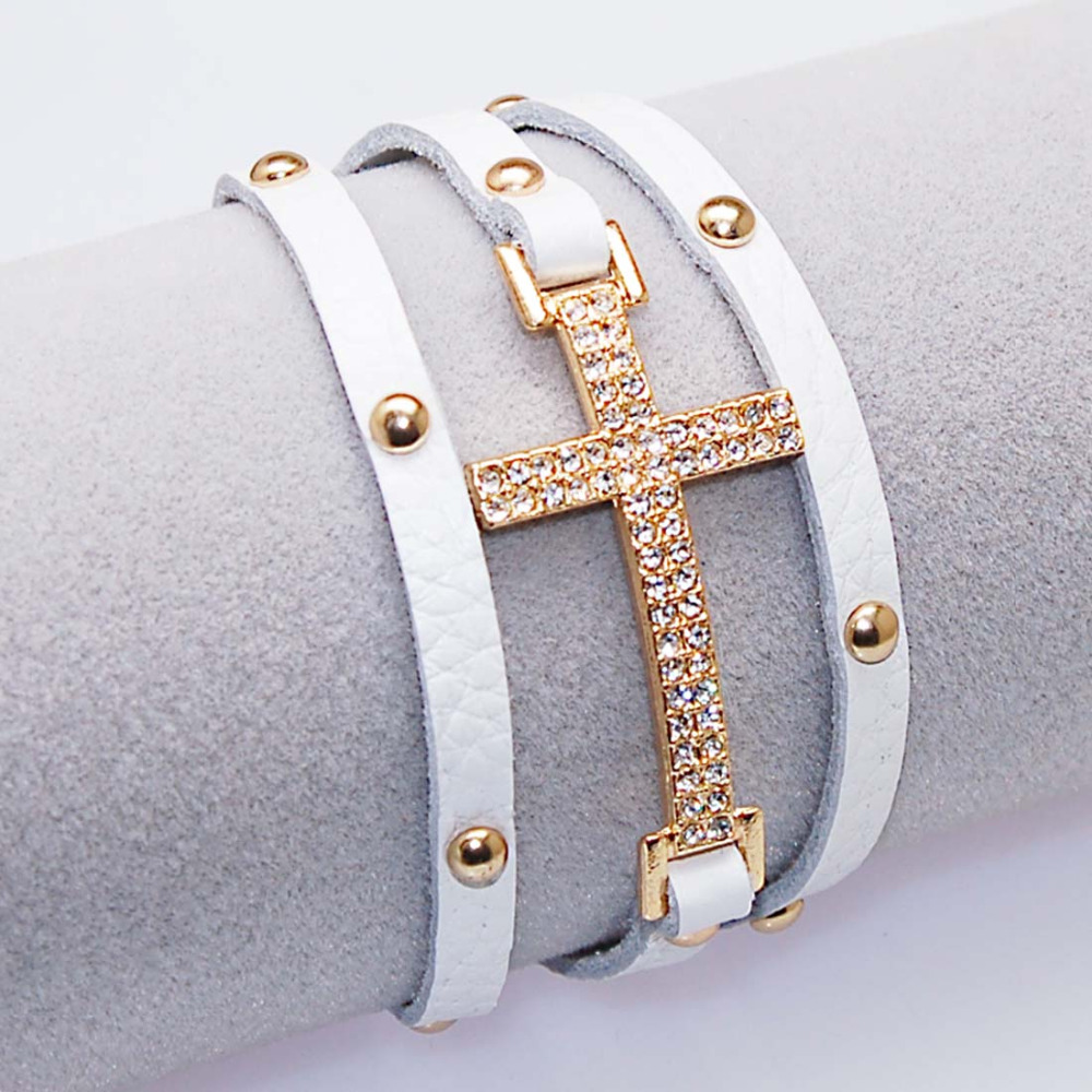 Crystal Micro Pave CZ Disco Cross Charm Double Wrap Real Leather Wrapped Charm Bracelets For Women Gift B1473 7