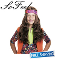 Sofeel 60cm Long Hippie Child Wig with Bandana high temperature fiber cosplay wigs free shipping