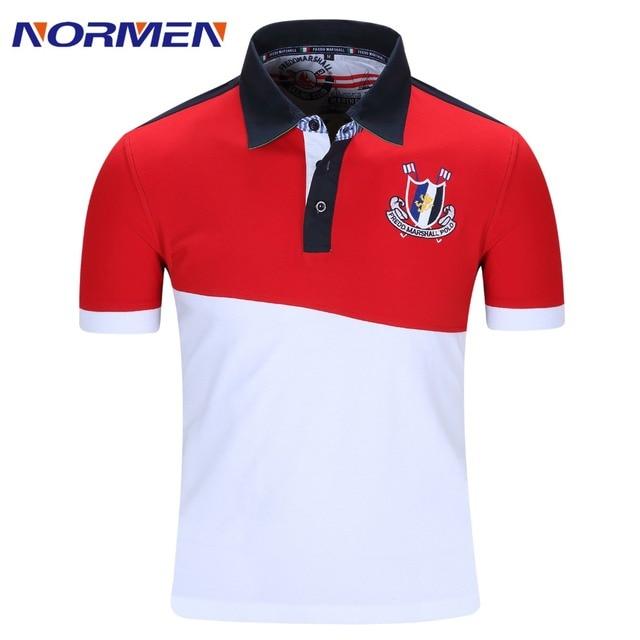 NORMEN Brand Men's Fashion Polo Shirt Fashion Patchwork Short Sleeve Shirt Men Casual Cotton Top Grade Polos ERU Szie Hot sale
