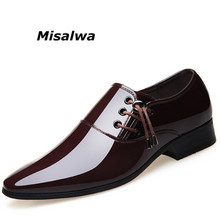 Misalwa 2019 Patent Leather Dress Shoes For Men Metal Pointed Toe Adult Elegant Wedding Zapatos Slip On Casual Oxford Black Shoe