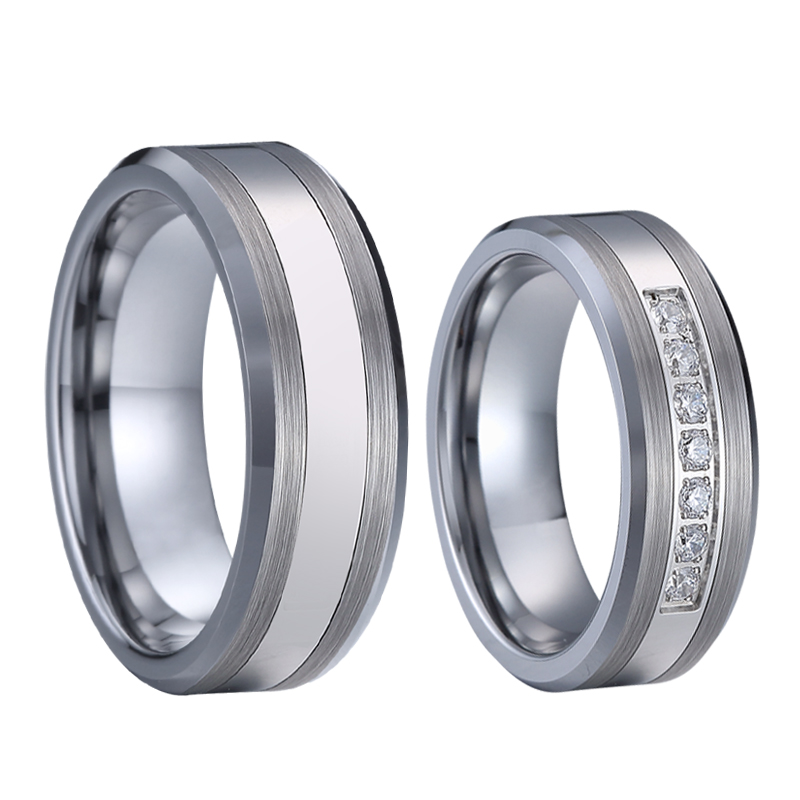 Combined Titanium Tungsten Rings Men's Wedding Band silver color bague anel anillos Couple Engagement Rings for women (1)