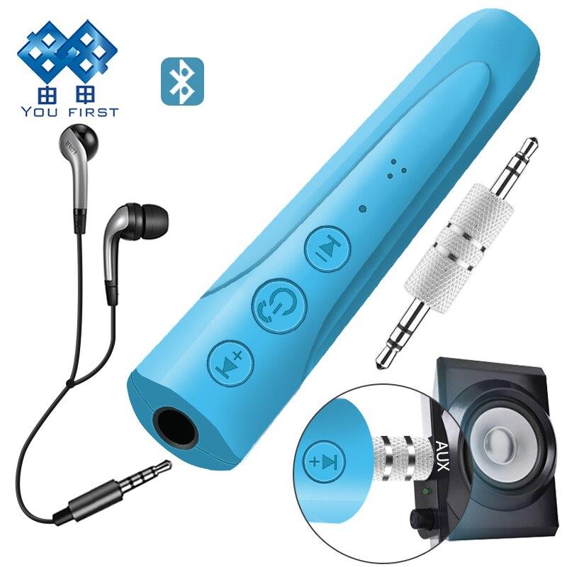 Вы сначала 3.5 мм Bluetooth наушники приемник комплект громкой связи аудио Музыка Aux автомобилей Bluetooth наушники Беспроводной С микрофоном