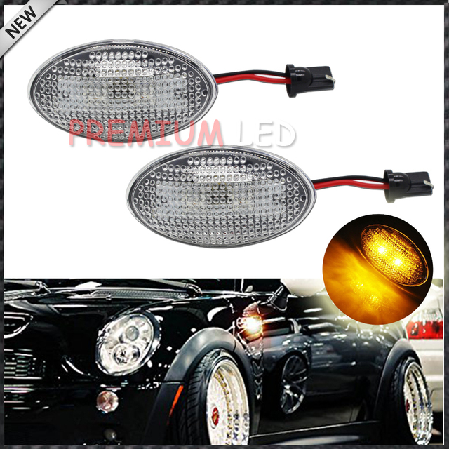 2pcs Oem Replace Clear Lens Side Marker Lamps W Amber Led Lights For Mini Cooper