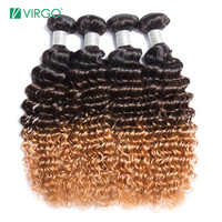 Virgo Ombre Curly Hair Brazilian Human Hair Weave Bundles 1b/4/27 Remy Curly Human Hair Extensions Can Buy 1 / 3 / 4 Bundles