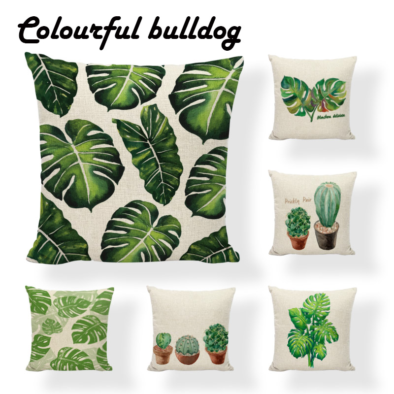 Elegant Monstera Cactus Cushion Cover Minimalist Watercolor Tropical Plants Pillow Cover Couch 17.7Inch Linen Yellow Striped