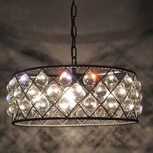 Image 2 - เหล็กสีดำหรูหราวงกลมโมเดิร์นจี้คริสตัลแฟชั่นโคมไฟ Led Chiip สำหรับ Dinging Room Bar บ้าน