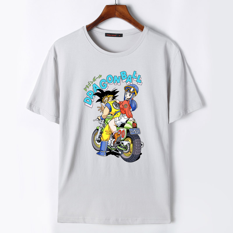 Flevans 2017 New Dragon Ball Son Goku and Bulma Print T Shirt Mens Summer Cotton T-shirts Skateboard Tee Boy Skate Tshirt Tops