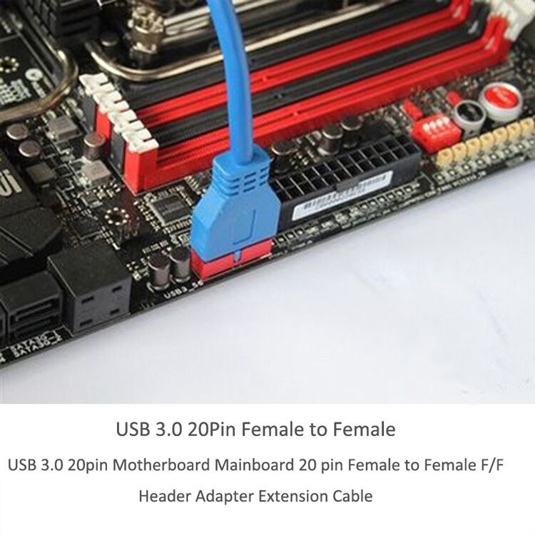 Cable Length: 50cm Cables 50cm USB 3.0 20pin Motherboard Mainboard 20 pin Female to Female F//F Header Adapter Extension Cable