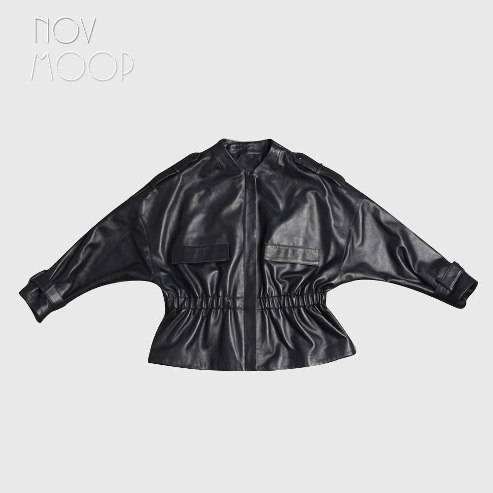 Women black genuine leather top grade lambskin jacket coat ruched waist Batwing sleeve outwear casaco feminino