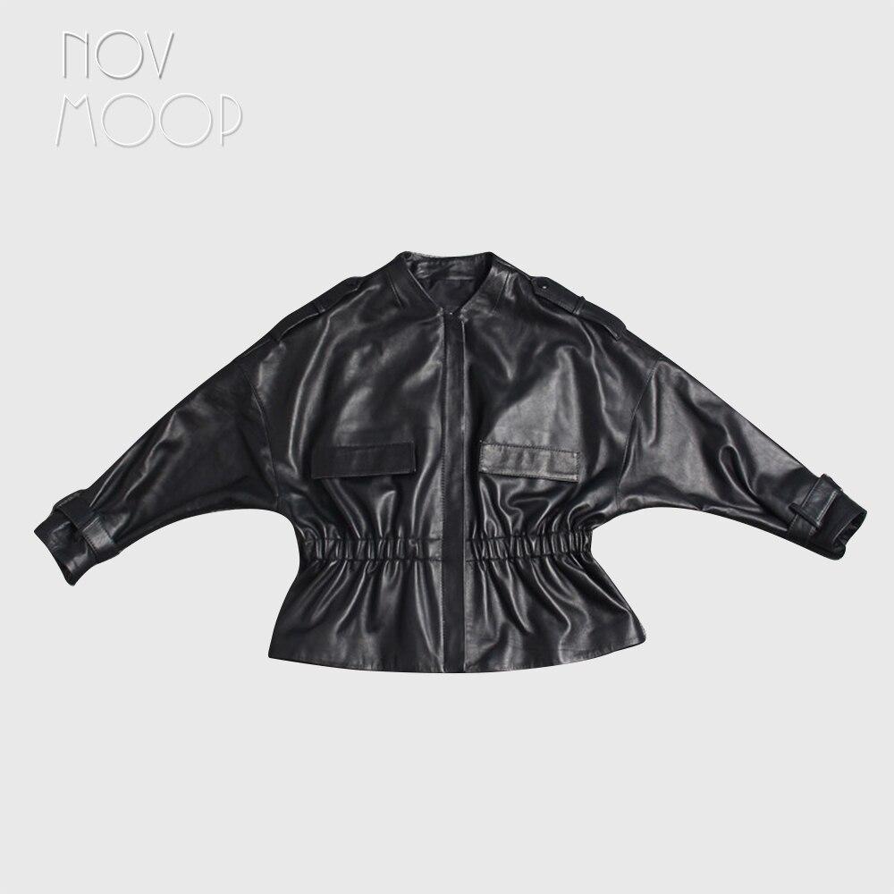 Kadın Giyim'ten Deri ve Süet'de Kadın siyah hakiki deri üst sınıf kuzu derisi ceket ceket dantelli bel Batwing kollu dış giyim casaco feminino ropa LT2465'da  Grup 1
