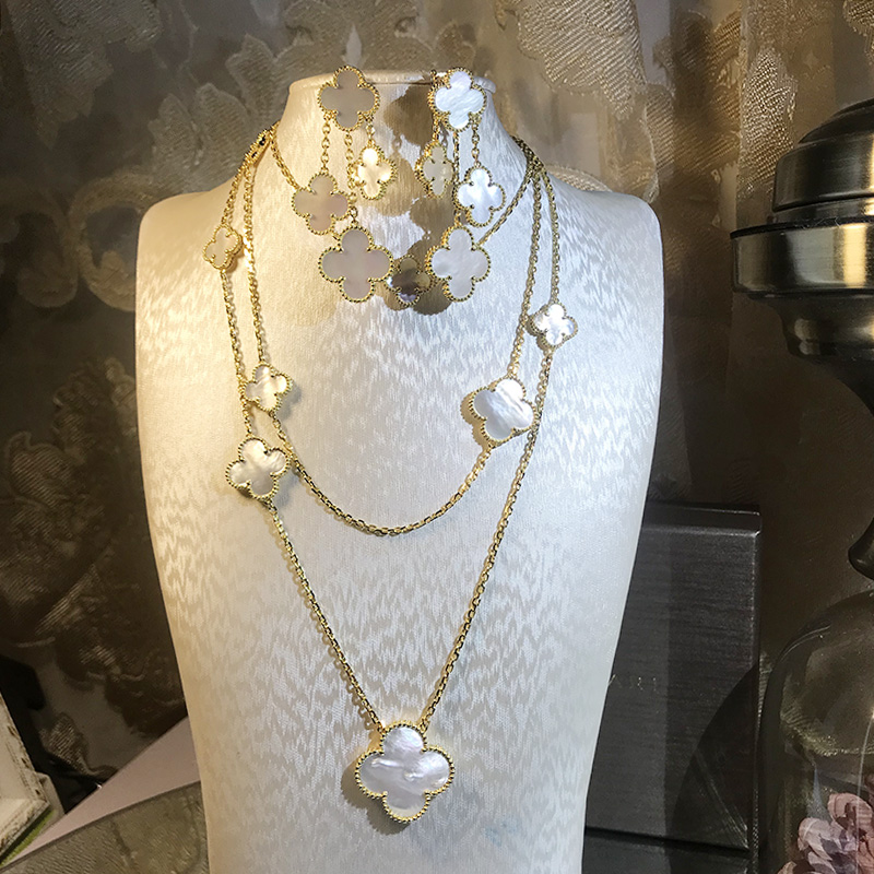 Brand Wedding Jewelry Set For Women Gold Color Necklace Big White Mother Shell Pearl lover Leaf Necklace Earrings Set 11 Flower a suit of chic faux pearl rhinestone leaf necklace and earrings for women