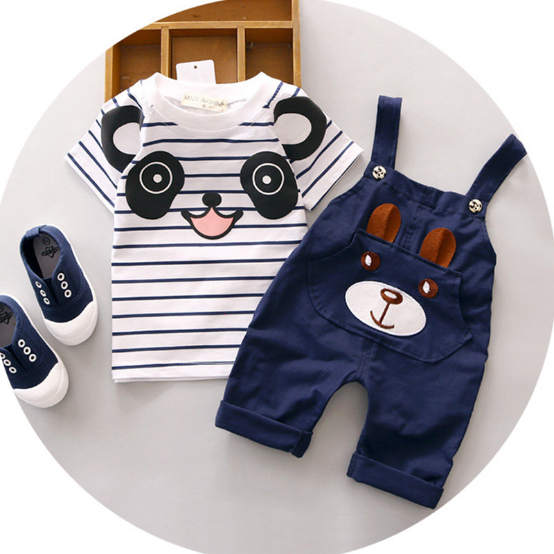 GUMPRUN Children Summer boys clothing set Cute Cartoon short sleeve T-shirt+Pants 2Pcs Casual Toddler Boys clothing Cotton