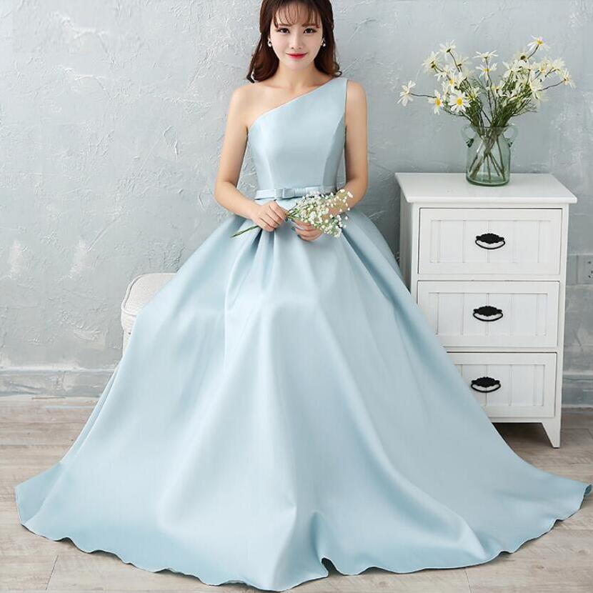 NICEOOXIAO 2018 Light Blue Brocade Long Evening Dress 6 Designs ...