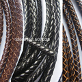 1 Yard 4 Kinds of Leather 5mm Round Bolo Genuine Braided Leather Cords Black / Brown For DIY Craft Jewelry Making