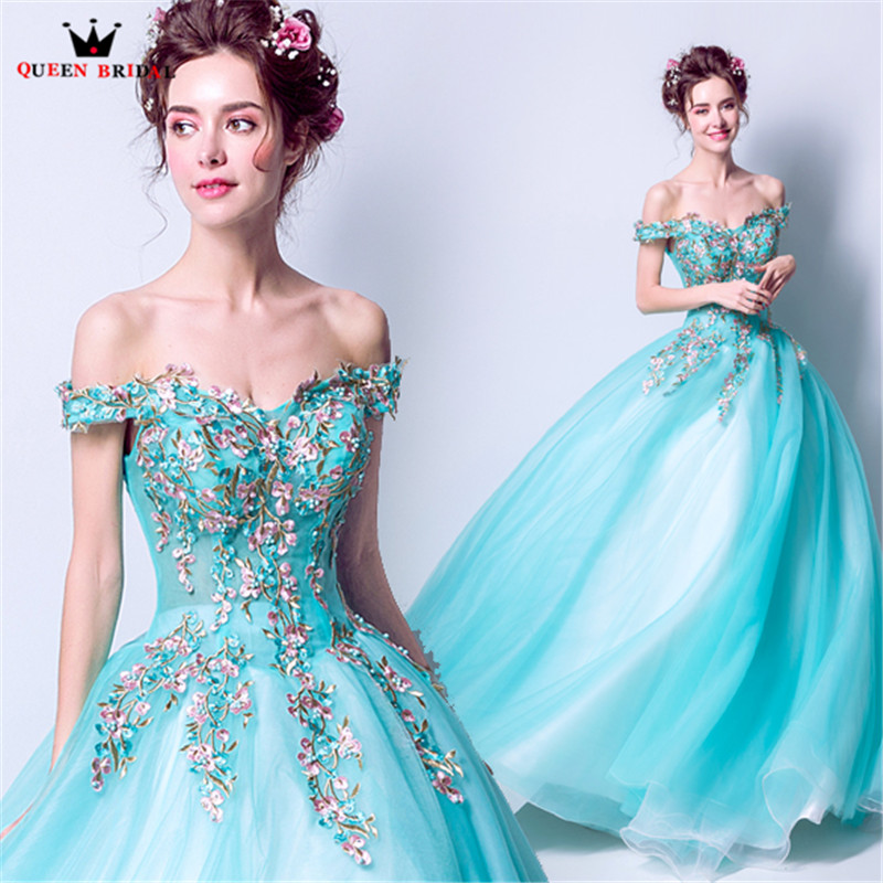 Sky Blue Luxury Ball Gown Tulle Lace Appliques Flowers Pearls 2019 New Evening Dress Party Gowns