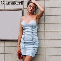 Glamaker Lace Up Sexy Women Denim Dress Spring Fashion Evening Party Dresses Female Skinny Jeans Mini