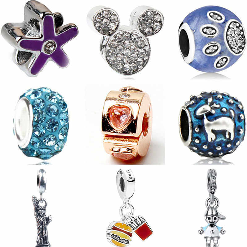 Punk Style Enamel Elephant Bell Snails Hearts Mickey Mouse Beads Fit Pandora Charms Bracelets & Bangles for Women DIY Berloques