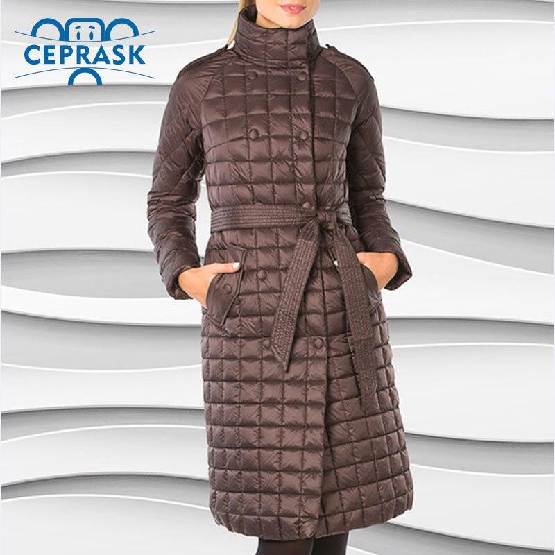 Ceprask 2016 High Quality women's winter coats Plus Size Long female jacket Slim Belt fashion Warm   Parka   camperas casaco