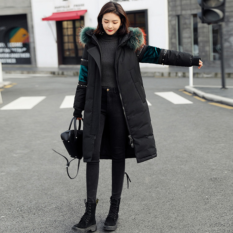 Qualité Taille Fourrure Grande Long Manteau Manteaux Femelle Col 845 black De Doudoune Mode Bas Survêtement Couleur Chaud White D'hiver Vers Haute Élégant Femmes Le qwxx8PZ0
