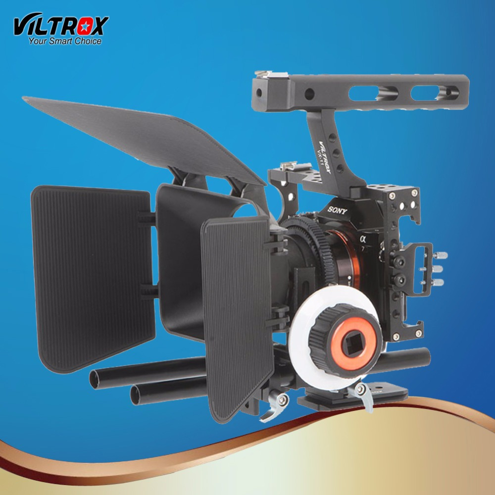 Viltrox VX 11 Video Camera Cage Camera Stabilizer & Follow Focus Matte Box For Sony A9 A6500 A7III A7R DSLR with Cold shoe Mount