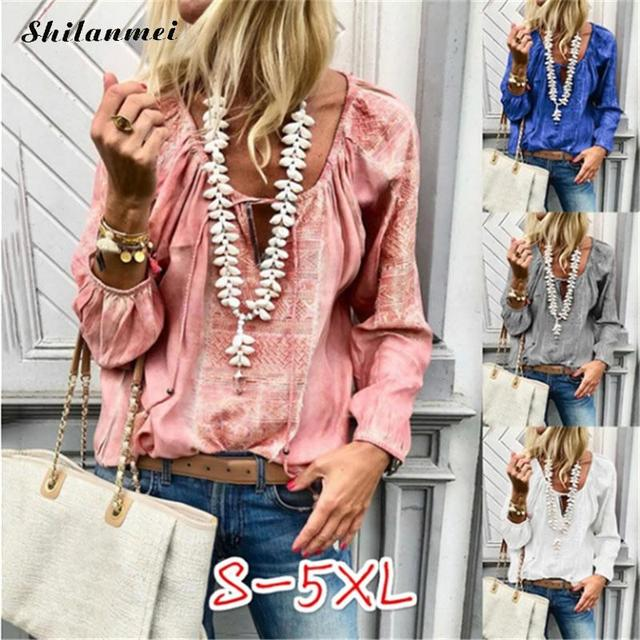 2018 Autumn Women Blouses Long Sleeve Deep V Neck Floral Retro Blouse Cotton Causal Loose Plus Size Shirt Camisas Blusas 5xl 4xl