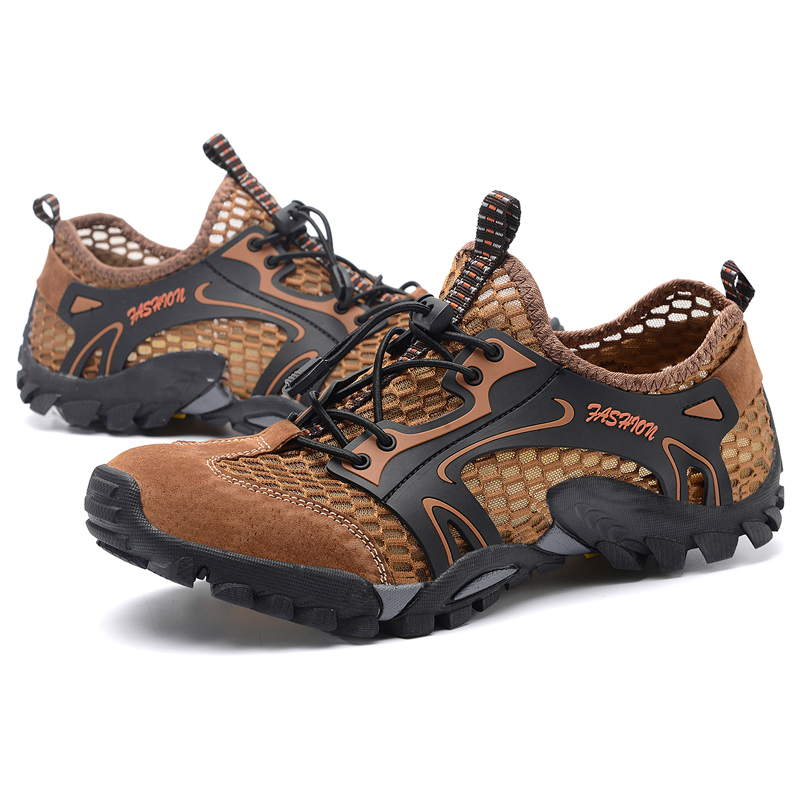 ea86b52c2b3 US $49.81 |Hot Summer Outdoor Hiking Shoes Men Breathable Mesh+leather  Sneakers Mens Sandals Trekking Trail Water Climbing & Fishing Shoe-in  Hiking ...