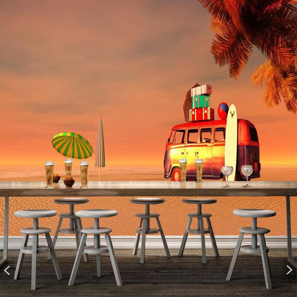 Voiture sur la plage papel de parede, salon canapé TV mur enfants chambre papiers muraux décor à la maison restaurant bar mural