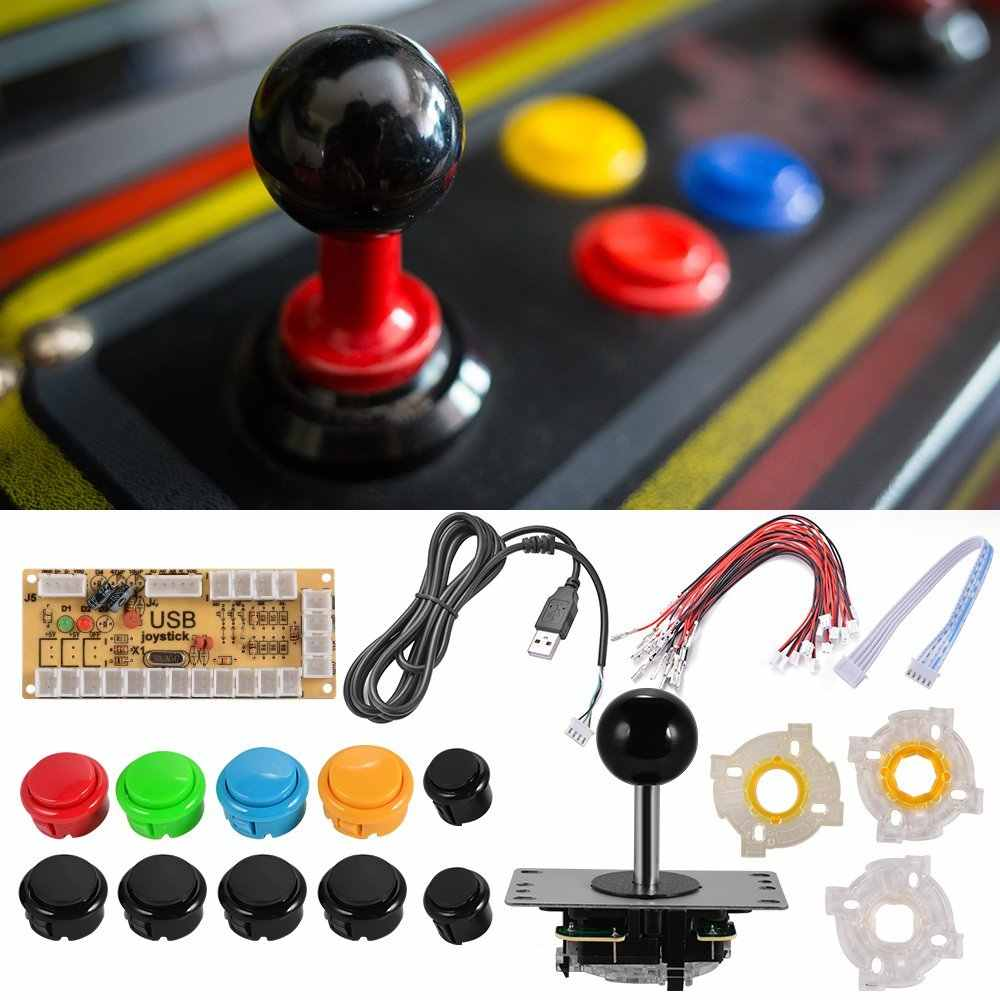 Zero Delay Arcade Game DIY Kits Parts USB Encoder Board + Joystick Controllers + Push Buttons + Round/Square/Octagonal Gasket