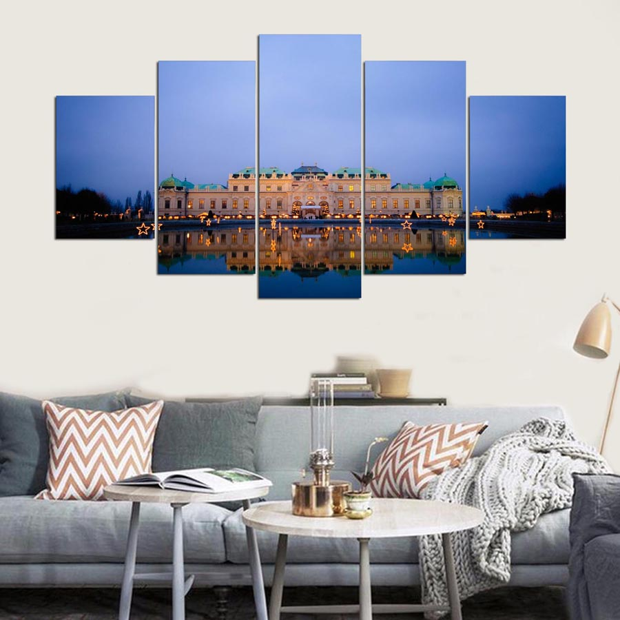 Imperial Home Decor: Painting Canvas Print Modern Poster 5 Panel Building