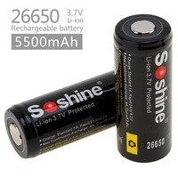 2 шт. Soshine 3,7 В 5500 мАч большой Ёмкость 26650 Li-Ion Перезаряжаемые Батарея с защищенным PCB для светодио дный фонари/фары