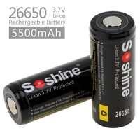 2pcs Soshine 3.7V 5500mAh Grande Capacità di 26650 Li-Ion Ricaricabile con PCB Protetta per LED Torcia/ fari