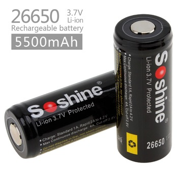 2pcs Soshine 3.7V 5500mAh Large Capacity 26650 Li-ion Rechargeable Battery with Protected PCB for LED Flashlights / Headlamps