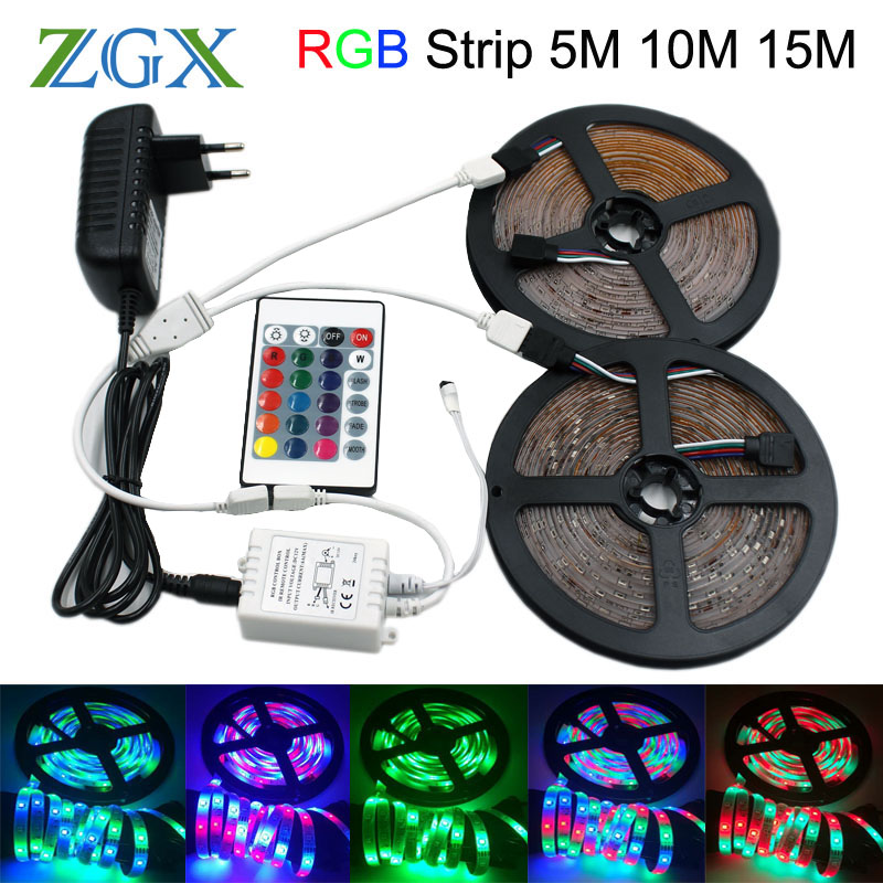 SMD 2835 RGB LED Strip light tira lamp neon 300LED Decor Flexible Tape waterproof diode ribbon 24K Controller DC 12V adapter set агуша сок агуша 200 мл тетрапак яблоко с мякотью с 4 мес