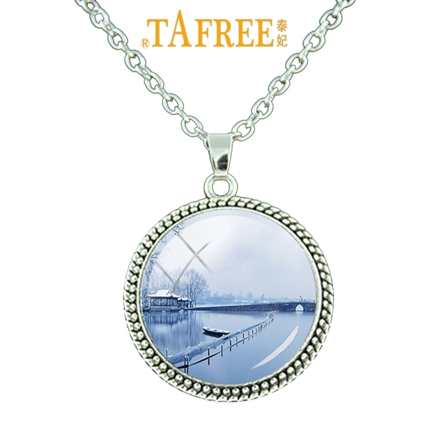TAFREE West Lake Necklace Snow Sscenery Pendant Retro Fashion Metal Jewelry Necklace Attractive Charm Necklace Jewelry XH39