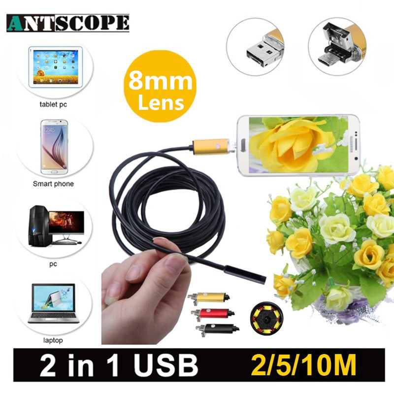 Antscope 8mm USB Android Endoscope Camera 2m/5m/10m PC And Android Phones Borescope Camera Snake Tube Endoscopic 19