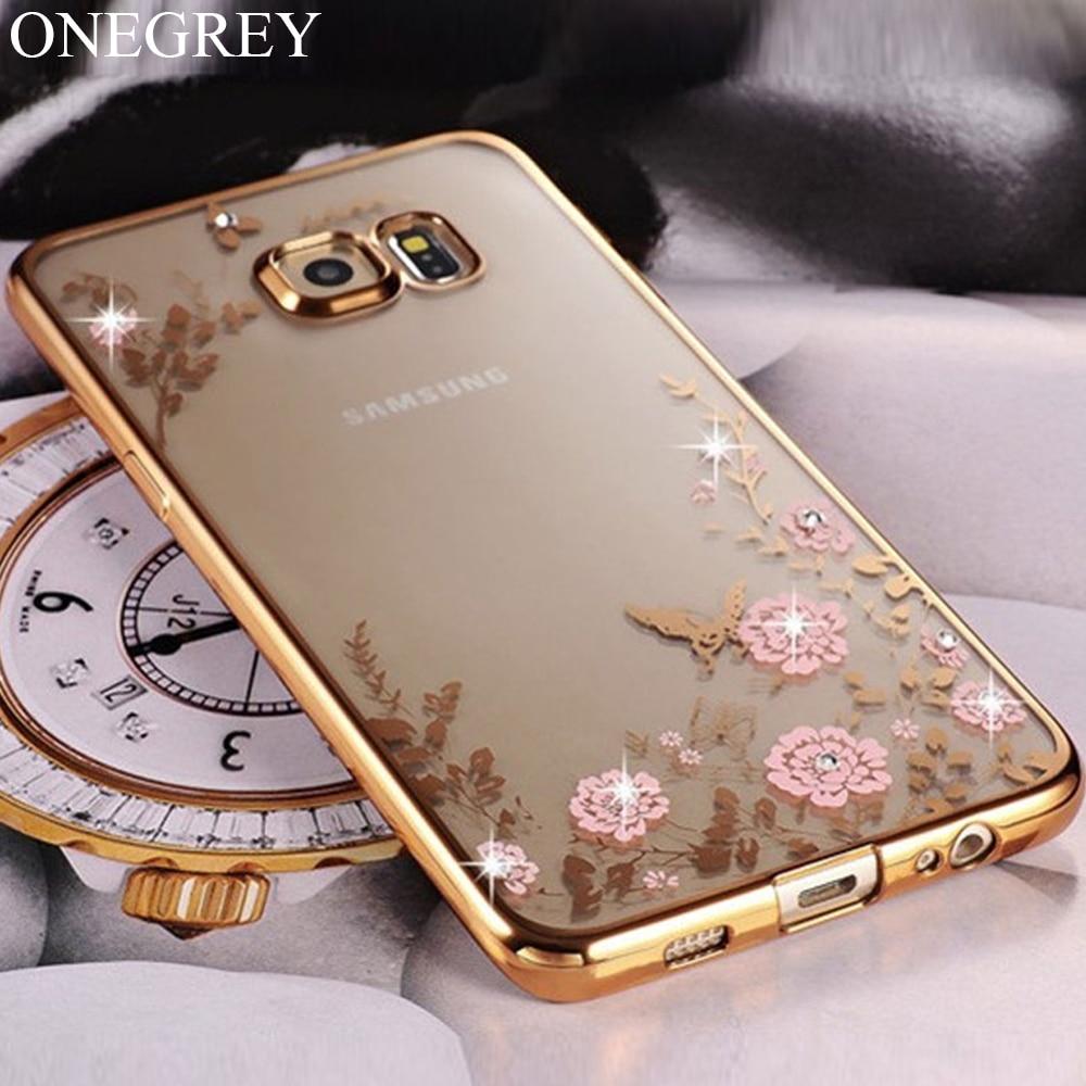 Floral Patterned Soft TPU Case For Samsung Galaxy A3 A5 A6 A7 A8 plus A9 2016 2017 2018 A8s Bling Girly Phone Mujer Etui Bumper