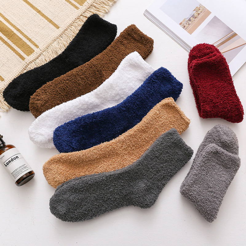 La MaxPa 2pairs Solid Color Men Women Warm Thicken Coral Fleece Socks Fluffy Sleep Bed Sock Winter Suit Warm Socksk K1788