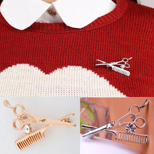Hot 1Pc Golden/Silvery Unisex Women Men Comb Scissors Styles Rhinestone Crystal Brooch Pin Jewelry Accessories цена 2017